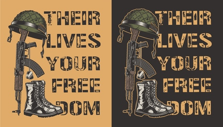 Army motivational poster with gun, helmet and boot. Vector illustration Иллюстрация