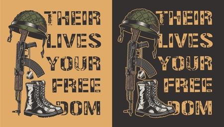 Cartel motivacional del ejército con pistola, casco y bota. Ilustración vectorial