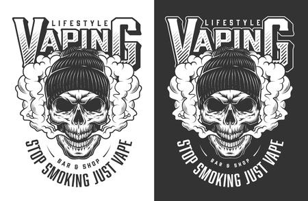 Vaping apparel design with skull. Vector illustration Reklamní fotografie - 108192539