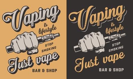 Vaping apparel design with vapor. Vector illustration Ilustrace