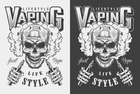 Vaping apparel design with skull. Vector illustration Archivio Fotografico - 108153660