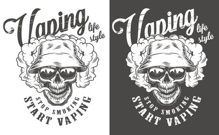 Vaping apparel design with skull. Vector illustration Reklamní fotografie - 108153666