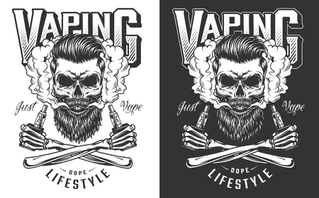 Vaping apparel design with skull. Vector illustration