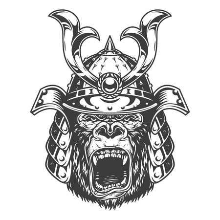 Vintage serious gorilla warrior in samurai helmet in monochrome style isolated vector illustration