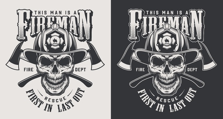 Vintage firefighting logotypes concept with crossed axes and skull wearing fireman helmet in monochrome style isolated vector illustration