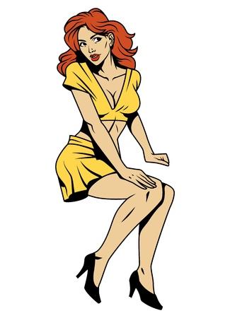 Weinlese attraktives Pin-up-Mädchen mit rotem Haar, das gelben Blusenrock und schwarze Schuhe isolierte Vektorillustration trägt