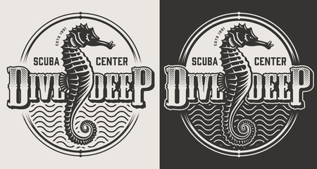 Vintage diving labels with seahorses and dive helmet in monochrome style isolated vector illustration