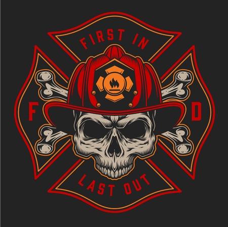 Impresión colorida del bombero de la vendimia con los ejes de las inscripciones y el cráneo en el casco del bombero en la ilustración del vector aislado del fondo negro Ilustración de vector
