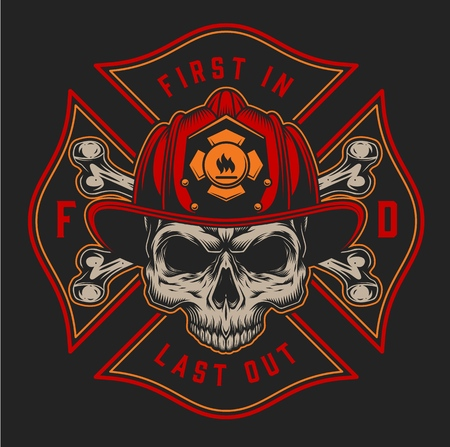 Vintage fireman colorful print with inscriptions axes and skull in firefighter helmet on black background isolated vector illustration Illustration