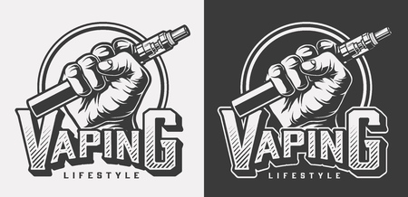 Vintage vaping monochrome labels with inscription and hand holding vape isolated vector illustration Illustration