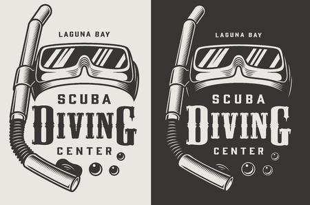 Logotypes monochromes de centre de plongée vintage avec illustration vectorielle de masque et tuba isolé