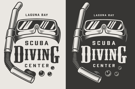 Vintage diving center monochrome logotypes with mask and snorkel isolated vector illustration Çizim