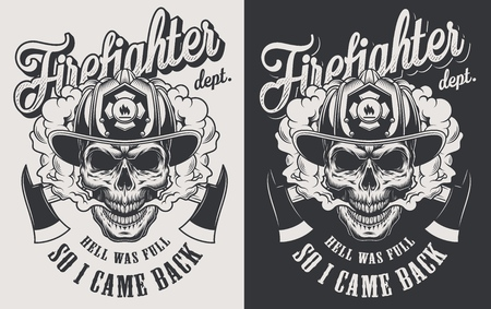 Vintage firefighting logotype concept with crossed axes and skull wearing fireman helmet in monochrome style isolated vector illustration Illustration