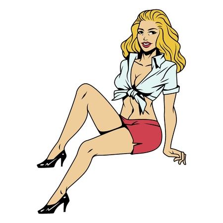 Vintage hermosa sonriente pin up girl con cabello rubio sentado en pose sobre fondo blanco aislado ilustración vectorial