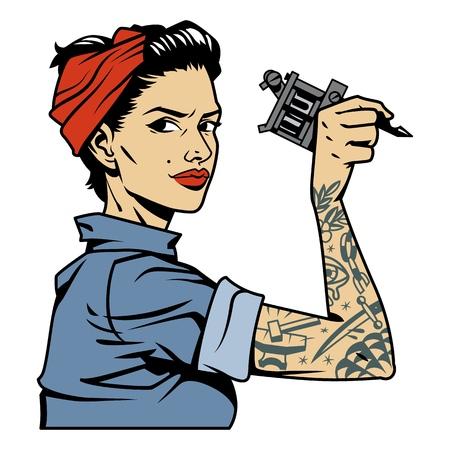 Vintage colorato meccanico ragazza con tatuaggio sul braccio tenendo la chiave isolata illustrazione vettoriale Vettoriali