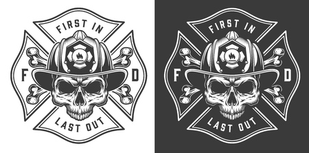 Vintage firefighter labels concept with letterings crossed axes fireman skull in helmet isolated vector illustration