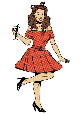 Vintage beautiful pin up girl in red dress with cocktail isolated vector illustration