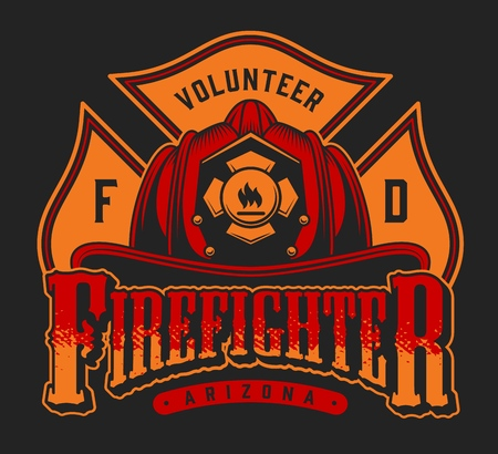 Vintage firefighting colorful emblem with inscriptions crossed axes and firefighter helmet on black background isolated vector illustration Illustration