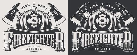 Emblemi di vigile del fuoco d'epoca con asce incrociate e cranio barbuto che indossa il casco da vigile del fuoco isolato illustrazione vettoriale