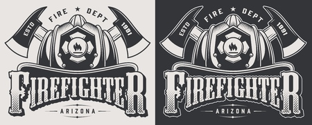 Vintage firefighter emblems with crossed axes and bearded skull wearing fireman helmet isolated vector illustration