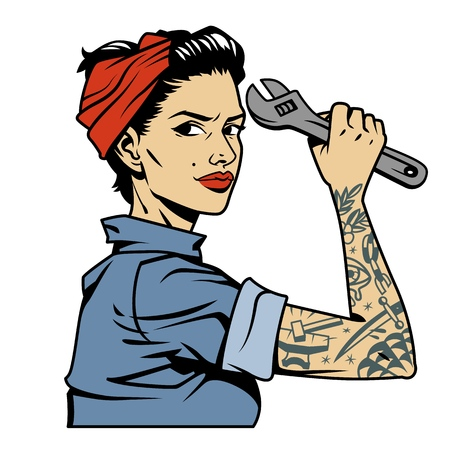 Vintage colorful pin up mechanic girl with tattoo on arm holding wrench isolated vector illustration
