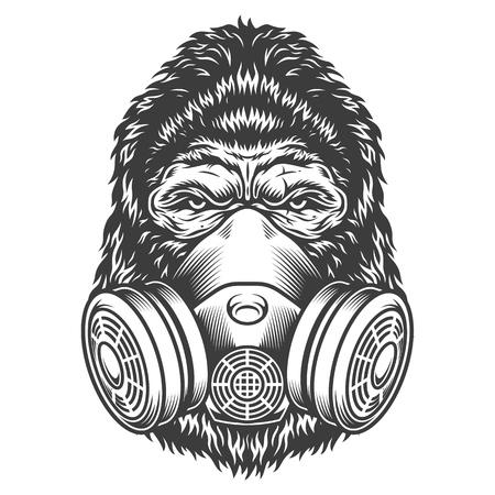 Cabeza de gorila monocromo vintage con máscara de gas aislado ilustración vectorial