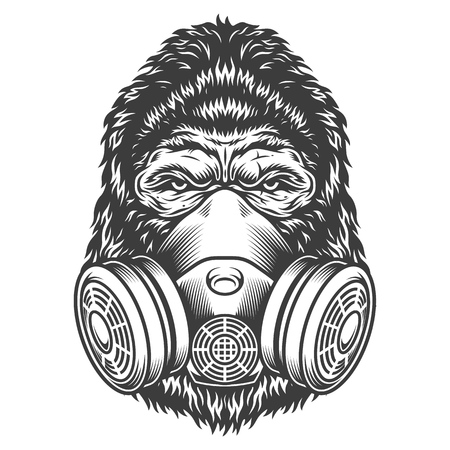 Vintage monochrome gorilla head with gas mask isolated vector illustration
