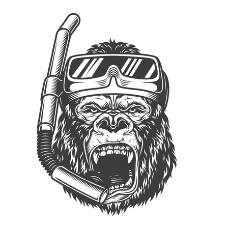 Vintage arrogant gorilla diver with scuba mask and snorkel in monochrome style isolated vector illustration