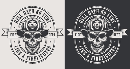 Monochrome fireman prints template with inscriptions skull in firefighter helmet in vintage style isolated vector illustration