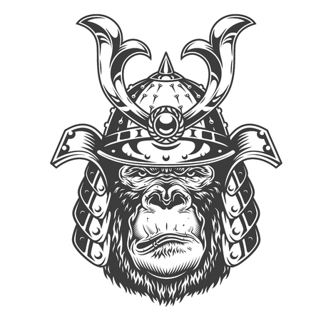 Vintage serious gorilla warrior in samurai helmet in monochrome style isolated vector illustration Çizim