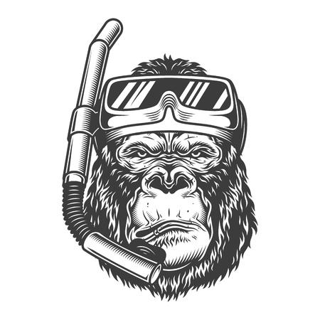 Arroganter Gorilla-Taucher der Weinlese mit Tauchermaske und Schnorchel in der monochromen Art isolierte Vektorillustration Vektorgrafik