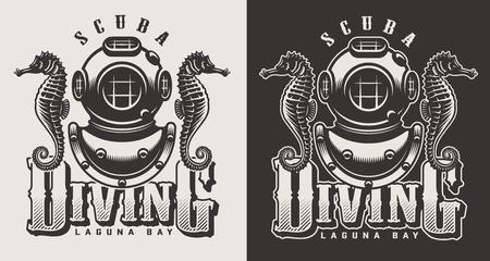 Logotypes monochromes de centre de plongée vintage avec masque et tuba isolé illustration vectorielle