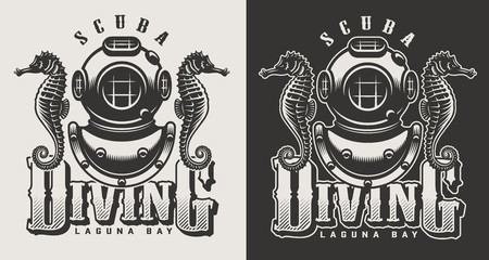 Vintage diving center monochrome logotypes with mask and snorkel isolated vector illustration