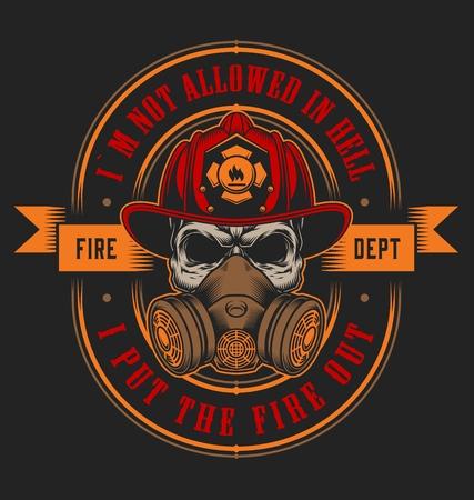 Vintage firefighting emblem concept with skull in fireman helmet isolated vector illustration