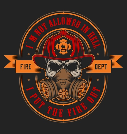 Vintage firefighting emblem concept with skull in fireman helmet isolated vector illustration