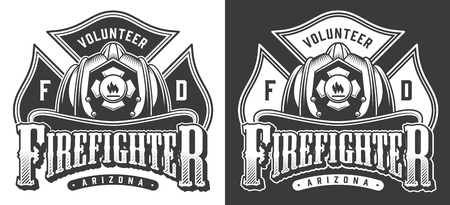 Monochrome firefighting emblems with crossbones and firefighter skull wearing helmet in vintage style isolated vector illustration
