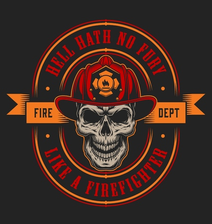 Vintage firefighter colorful label template with fireman skull in helmet and crossed axes isolated vector illustration