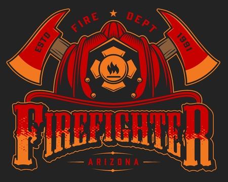 Bunte Schablone des Weinlesefeuerwehrlogos mit gekreuzten Achsen und Schädel im Feuerwehrhelm auf lokalisierter Vektorillustration des schwarzen Hintergrunds Logo