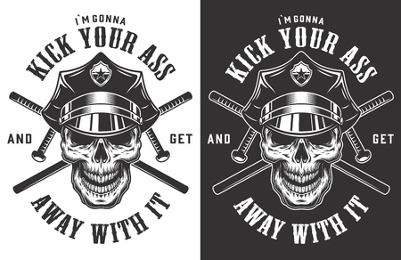 Vintage police monochrome labels with crossed batons and skull in policeman hat isolated vector illustration