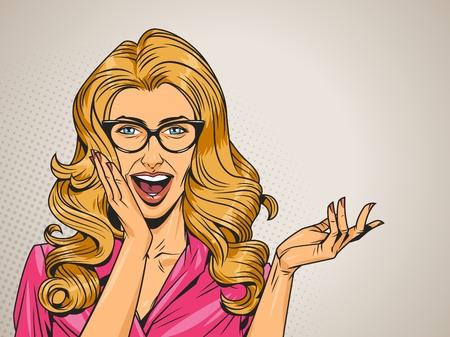 El arte pop sorprendió a la mujer de cabello rubio en vestido rosa con anteojos y la boca abierta en la ilustración de vector de fondo de semitono gris Ilustración de vector