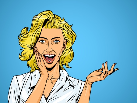 Comic sorprendió a chica bonita en blusa blanca con cabello rubio y boca abierta ilustración vectorial