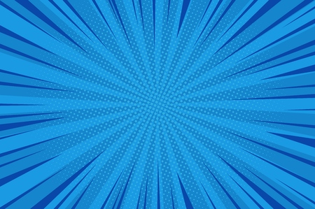 Comic abstract blue background with radial rays and halftone humor effects vector illustration
