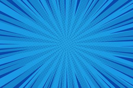 Komischer abstrakter blauer Hintergrund mit radialen Strahlen und Halbtonhumoreffektvektorillustration
