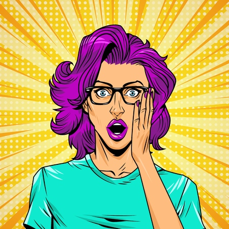 Comic surprised attractive girl with glasses purple lips and hair on yellow radial background vector illustration