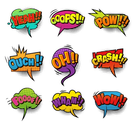 Comic colorful blank speech bubbles collection with sound and halftone humor effects isolated vector illustration