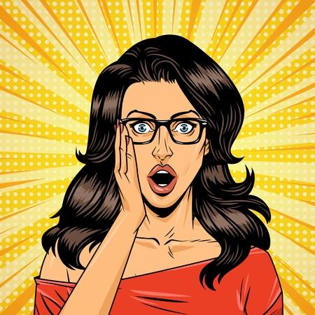 Modello di ragazza meraviglia comica con occhiali e capelli castani su sfondo giallo illustrazione vettoriale