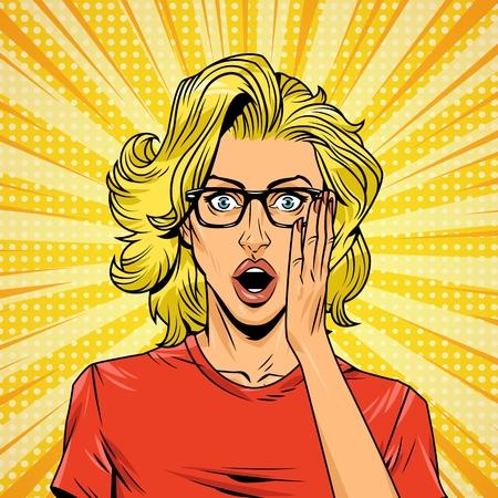 Concepto de mujer joven sorprendida cómica con anteojos y efectos de rayos radiales de semitono de cabello rubio ilustración vectorial