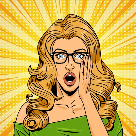 Pop art surprised pretty girl in green dress with eyeglasses on yellow comic background vector illustration