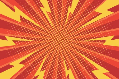 Comic abstract bright background with yellow lightnings halftone red radial humor effects vector illustration
