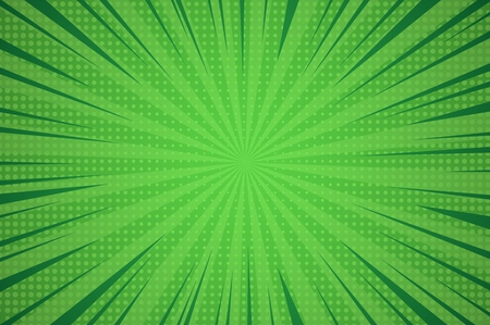 Comic dynamic green background with radial beams and dotted humor effects vector illustration